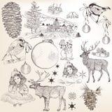 Sistema de la Navidad de los elementos dibujados mano para el diseño Imágenes de archivo libres de regalías