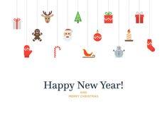 Sistema de la Navidad de los iconos y de los elementos, árbol, ciervo Foto de archivo