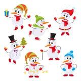 Sistema de la Navidad de pequeños muñecos de nieve lindos y divertidos ilustración del vector