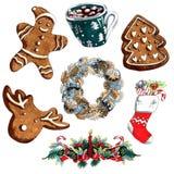 Sistema de la Navidad del ejemplo del marcador de la guirnalda, pan de jengibre, calcetín del regalo aislado en el fondo blanco  libre illustration