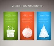 Sistema de la Navidad del vector/del Año Nuevo de banderas de la vertical Imagen de archivo libre de regalías