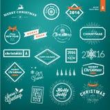 Sistema de la Navidad del vintage y de las etiquetas y de las insignias del Año Nuevo Imágenes de archivo libres de regalías