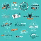 Sistema de la Navidad del vintage y de las etiquetas y de los elementos del Año Nuevo Foto de archivo