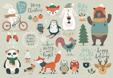 Sistema de la Navidad, estilo dibujado mano - caligrafía, animales y otros elementos libre illustration