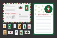 Sistema de la Navidad de la letra a Santa Claus, al sobre y a los sellos para los niños, actividad preescolar para los niños, vec stock de ilustración