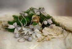 Sistema de la Navidad, oso Imágenes de archivo libres de regalías