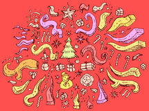Sistema de la Navidad tradicional dibujada mano del garabato Imagen de archivo libre de regalías