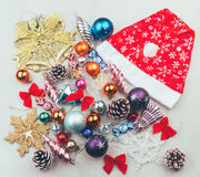 Sistema de la Navidad y de Años Nuevos de decoraciones Imagenes de archivo