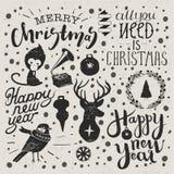 Sistema de la Navidad y del Año Nuevo Imagen de archivo libre de regalías
