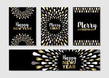 Sistema de la Navidad y del Año Nuevo de diseños de tarjeta del oro Fotografía de archivo libre de regalías