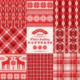 Sistema de la Navidad y del Año Nuevo Tela escocesa e inconsútil hecha punto Fotografía de archivo