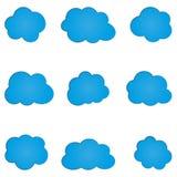 Sistema de la nube azul abstracta simple Nueve elementos Fotografía de archivo libre de regalías