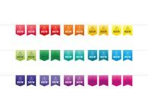 Sistema de la nueva plantilla del ejemplo del gráfico de vector de los pernos del espectro colorido del arco iris aislada en el f Imágenes de archivo libres de regalías