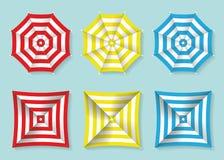 Sistema de la opinión superior roja, amarilla y azul de los parasoles de playa Sombrillas del cuadrado y del círculo Ilustración  Imagen de archivo libre de regalías