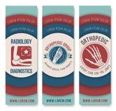 Sistema de la ortopedia y de la plantilla de la bandera de la radiología stock de ilustración
