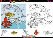 Sistema de la página del colorante de la historieta de la vida marina Fotos de archivo libres de regalías