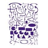 Sistema de la púrpura de garabatos de la flecha del vector Imágenes de archivo libres de regalías