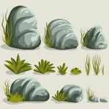 Sistema de la piedra de la roca stock de ilustración