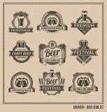 Sistema de la pizarra del icono de la cerveza Foto de archivo