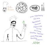 Sistema de la pizza del cocinero Imagenes de archivo
