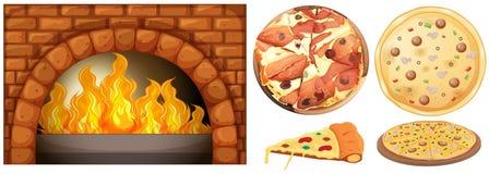 Sistema de la pizza y del horno de la piedra ilustración del vector