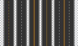 Sistema de la plantilla de carreteras de asfalto rectas Fondo inconsútil del camino Vector EPS 10 ilustración del vector