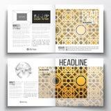 Sistema de la plantilla cuadrada del folleto del diseño Textura de oro islámica del vector, modelo geométrico, ornamento abstract Imagen de archivo