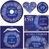Sistema de la plantilla de la boda del invierno Guirnalda de los copos de nieve Fotografía de archivo libre de regalías