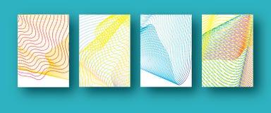 Sistema de la plantilla de la cubierta 4 de la pendiente colorida de moda geométrica futura de las formas Diseño de semitono de l ilustración del vector