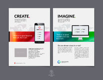 Sistema de la plantilla de la disposición de diseño del folleto, del aviador y de la cubierta del negocio Imagenes de archivo