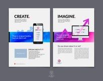 Sistema de la plantilla de la disposición de diseño del folleto, del aviador y de la cubierta del negocio Fotografía de archivo libre de regalías