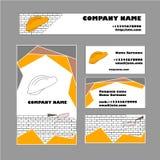Sistema de la plantilla de la tarjeta de visita para el negocio de construcción Imagen de archivo