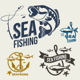 Sistema de la plantilla de los logotipos del tema de la pesca en mar Imagenes de archivo