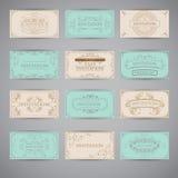 Sistema de la plantilla de lujo del diseño del menú del restaurante del saludo del vintage Imagenes de archivo