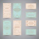 Sistema de la plantilla de lujo del diseño del menú del restaurante del saludo del vintage Foto de archivo libre de regalías