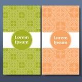 Sistema de la plantilla de tarjetas Fronteras ornamentales y fondo modelado mandala Capítulo para la tarjeta de felicitación o la Foto de archivo libre de regalías