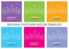 Sistema de la plantilla del cumpleaños Fotografía de archivo libre de regalías