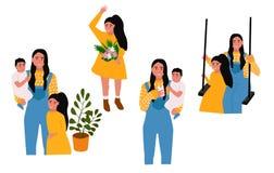 Sistema de la plantilla del d?a de madres stock de ilustración
