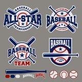 Sistema de la plantilla del diseño del logotipo de la insignia del deporte del béisbol Fotos de archivo