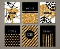 Sistema de la plantilla del folleto con el movimiento del cepillo del oro stock de ilustración