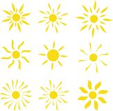 Sistema de la plantilla del logotipo del vector de Sun Imagen de archivo libre de regalías
