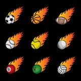 Sistema de la plantilla del vector de las bolas del deporte del fuego Fotografía de archivo libre de regalías