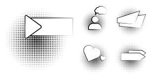 Sistema de la plantilla en blanco en estilo del arte pop Tono medio cómico Dot Background de la burbuja del discurso del texto de stock de ilustración