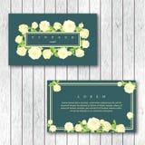 Sistema de la plantilla horizontal de las tarjetas de visita del vintage con el florecimiento stock de ilustración