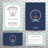 Sistema de la plantilla invitación de la boda y de la tarjeta náuticas de RSVP Fotos de archivo