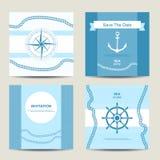 Sistema de la plantilla náutica de la tarjeta de la invitación cuatro Imagenes de archivo