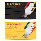 Sistema de la plantilla profesional de la tarjeta de visita del electricista Vector e ilustración del vector