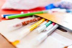 Sistema de la pluma del colorante de los niños inéditos Foto de archivo