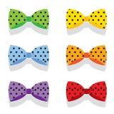 Sistema de la polca colorida Dot Bow Ties Fotografía de archivo libre de regalías