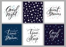 Sistema de la postal de las letras de buenas noches Foto de archivo